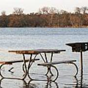 Flooded Park Bench Lunch Art Print