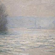 Floods On The Seine Near Bennecourt Print by Claude Monet