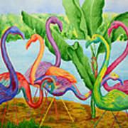 Floosie Flamingos Art Print