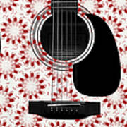Floral Abstract Guitar 24 Art Print