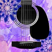 Floral Abstract Guitar 27 Art Print