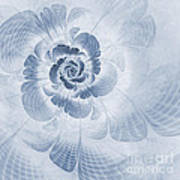 Floral Impression Cyanotype Art Print