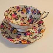 Floral Tea Cup Art Print