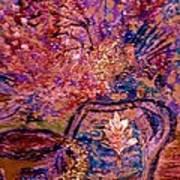 Floral With Gold Leaf On Vase Art Print