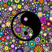 Floral Yin Yang Art Print