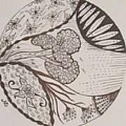 Floral Zen Tangle  Art Print