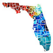 Florida - Map By Counties Sharon Cummings Art Art Print