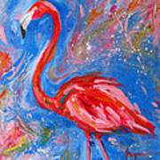 Florida Pink Flamingo - Modern Impressionist Art Art Print