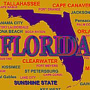 Florida State Pride Map Silhouette  Art Print