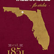Florida State University Seminoles Tallahassee Florida Town State Map Poster Series No 039 Art Print