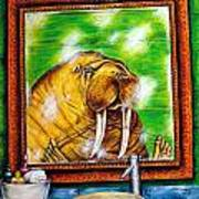 Flossing In The Bathroom Art Print by Jay  Schmetz