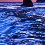 Flow - Dramatic Sunset View Of A Sea Stack In Davenport Beach Santa Cruz. Art Print