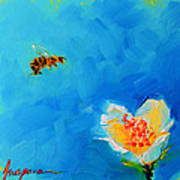 Flower And A Bee Art Print