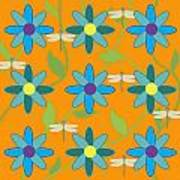 Flower And Dragonfly Design With Orange Background Art Print