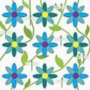 Flower And Dragonfly Design With White Background Art Print