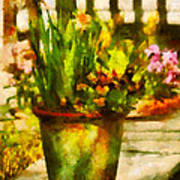 Flower - Daffodil - A Pot Of Daffodil's Art Print by Mike Savad