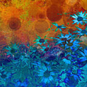 Flower Fantasy In Blue And Orange  Art Print by Ann Powell