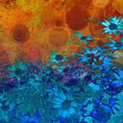 Flower Fantasy In Blue And Orange  Art Print