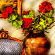 Flower - Geraniums On A Table  Art Print by Mike Savad