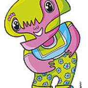 Flower Girl Doodle Character Print by Frank Ramspott