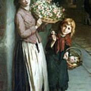 Flower Girls A Summer Night Art Print by Augustus Edwin Mulready