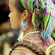 Flower Hmong Woman Art Print