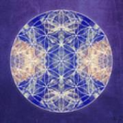 Flower Of Life Blue Art Print