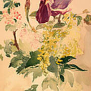 Flower Piece With Iris Laburnum And Geranium Art Print