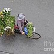 Flower Seller In Street Of Hanoi Art Print by Sami Sarkis