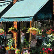 Flower Shop With Green Awnings Art Print