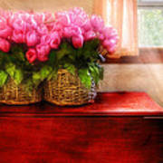 Flower - Tulips By A Window Art Print by Mike Savad