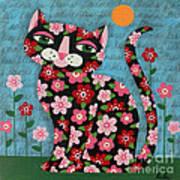 Flowered Calico Black Cat Art Print
