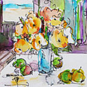 Flowers And Green Apples Art Print