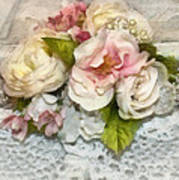 Flowers And Lace Art Print