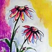 Flowers And Ladybug  Art Print