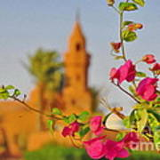 Flowers And Mosque Art Print by George Paris