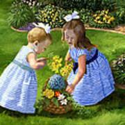 Flowers For Mama With Girls Garden Basket Bouquet Art Print by Alice Leggett