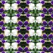 Flowers From Cherryhill Nj America White  Purple Combination Graphically Enhanced Innovative Pattern Art Print