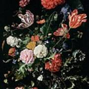 Flowers In A Glass Vase, Circa 1660 Art Print