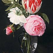 Flowers In A Glass Vase Art Print by Daniel Seghers