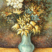 Flowers In Blue Vase - Still Life Oil Art Print