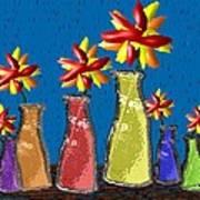 Flowers In Glass Vases Art Print
