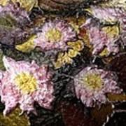 Flowers In Pool Of Autumn Leaves Art Print