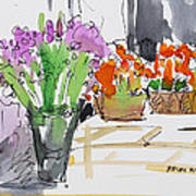 Flowers In Pots Art Print by Becky Kim
