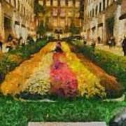 Flowers In Rockefeller Plaza Art Print