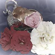 Flowers In Silver Art Print