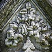 Flowers On A Grave Stone Art Print by Edward Fielding