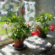 Flowers On The Window Print by Yury Malkov