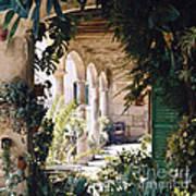 Flowery Majorquin  Patio In Valdemosa Art Print