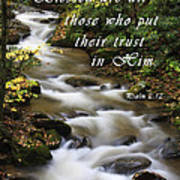 Flowing Creek With Scripture Art Print